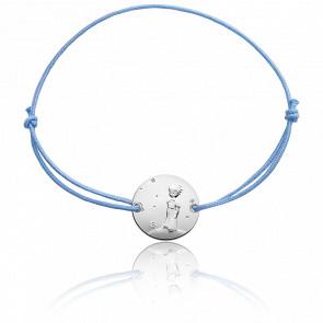 Bracelet Plaque Ronde Petit Prince Sur Sa Planète Cordon & Argent