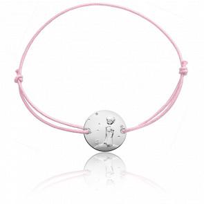 Bracelet Plaque Ronde Petit Prince Planète Cordon Rose & Argent