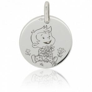 Médaille Rêveur Nature Or Blanc 9K