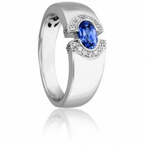 Bague Oeil de Lune or blanc 18K, saphir & diamant - Joelli