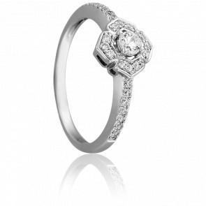 Bague diamants fleur 0,31 ct or blanc 18K