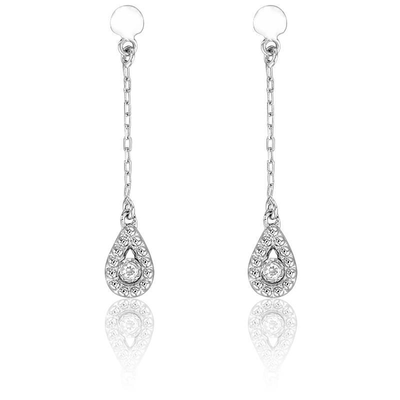 boucles d 39 oreilles en or blanc 18k et diamants 0 03 ct. Black Bedroom Furniture Sets. Home Design Ideas