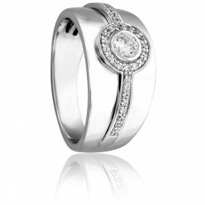Bague Solitaire Leucosie Or Blanc 18K & Diamants