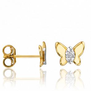 Puces d'Oreilles Papillon Diamants & Or Jaune 18K