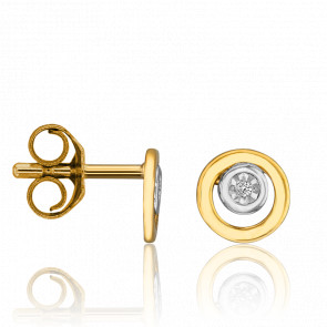 Clous d'oreilles 2 ors 18 carats & diamant