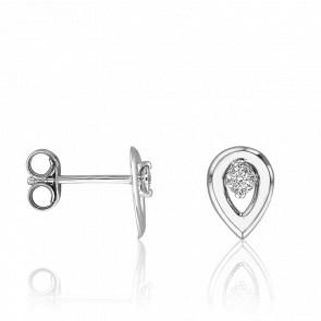 Puces d'Oreilles Goutte Ajourée, Diamants & Or Blanc 18K