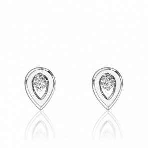 Puces d'Oreilles Or Blanc 18K, Goutte Ajourée & Diamants