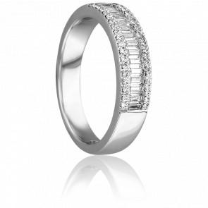 Bague Ligie Or Blanc 18K et Diamants - Joelli