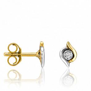 Puces d'Oreilles Arabesques Diamants & 2 Ors 18K