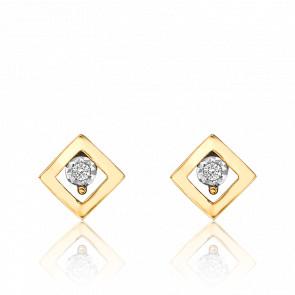 Puces d'Oreilles 2 Ors 18K, Losange Diamants