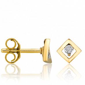 Puces d'Oreilles Losange Diamants & 2 Ors 18K