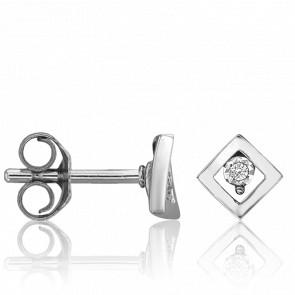 Puces d'Oreilles Losange Diamants & Or Blanc 18K
