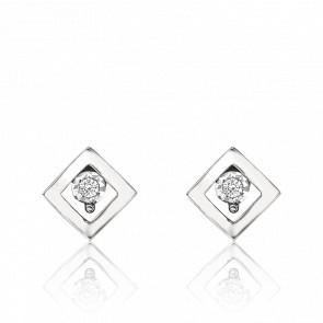 Puces d'Oreilles Or Blanc 18K, Losange Diamants