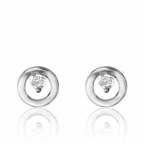 Puces d'Oreilles Or Blanc 18K, Diamants 0,02 ct