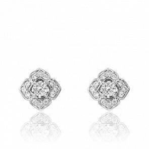 Boucles d'oreilles fleur, or blanc 18 carats et diamants