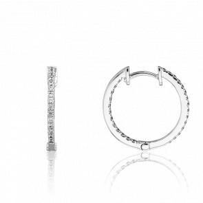 Boucles d'Oreilles Petites Créoles Or Blanc et Diamants