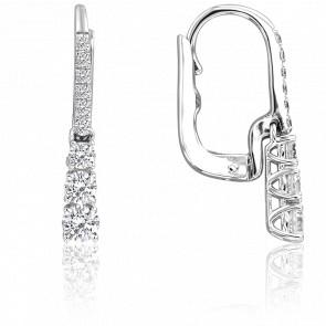 Boucles d'oreilles dormeuses, diamants & or blanc 18 carats