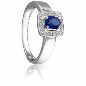 Bague Déjanire Or Blanc Saphir et diamants
