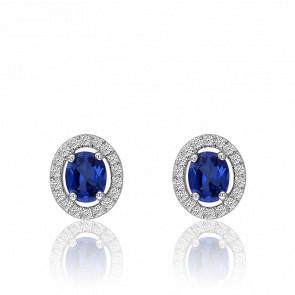 Boucles d'oreilles saphir ovale et cercle de diamants, or blanc 18 carats