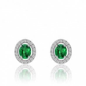 Boucles d'oreilles émeraude ovale & cercle de diamants, or blanc 18 carats