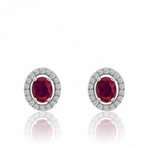 Boucles d'oreilles rubis ovale et cercle de diamants, or blanc 18 carats