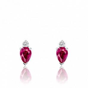 Puces d'oreilles rubis et diamant, or blanc 18 carats