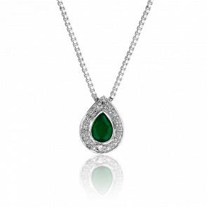 Collier Goutte Emeraude & Diamants