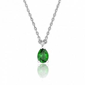 Collier Goutte Verte & Diamant