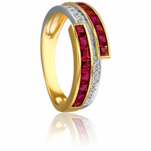 Bague Epione 2 Ors 18K & Diamants et Rubis