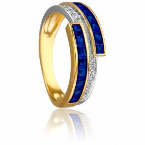Bague Epione 2 Ors 18K & Diamants et Saphirs