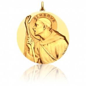 Médaille Saint Hervé Or Jaune 18K