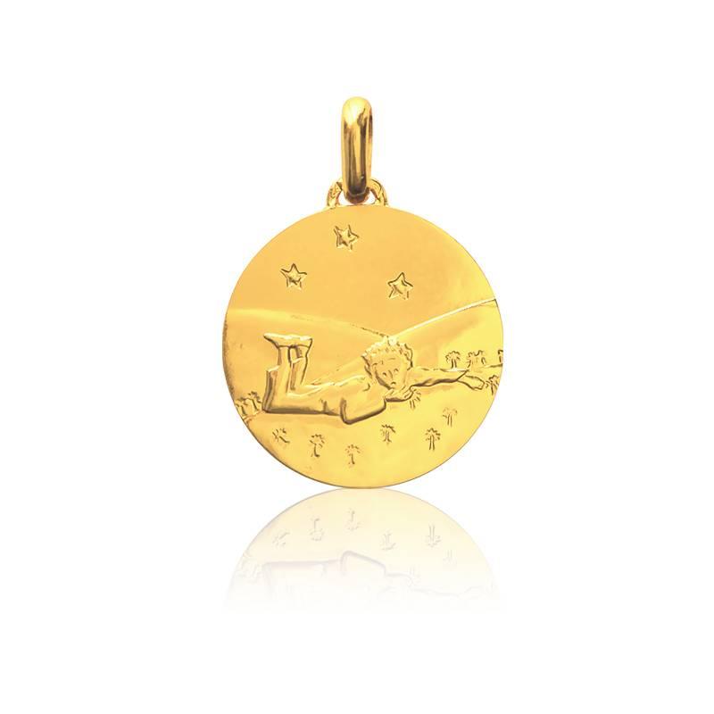Médaille Petit Prince Couché Dans l'Herbe Or Jaune 18K