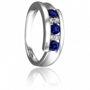 Bague Etana Or Blanc 18K Saphirs et diamants