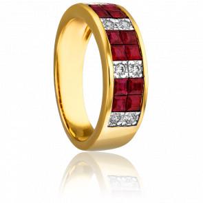 Bague Bellone Or Jaune 18K Rubis et diamants