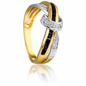 Bague Podalire 2 Ors 18K & Saphirs et Diamants