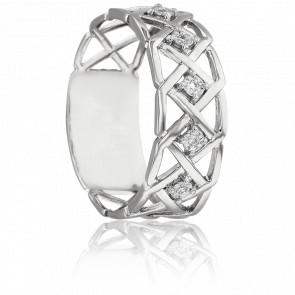 Bague Nydia Or Blanc 18K & Diamants 0,02 ct
