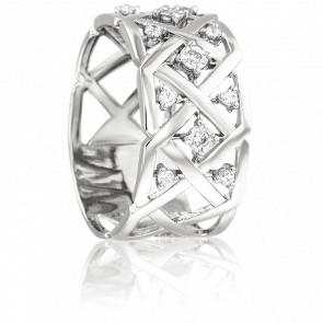 Bague Lypé Or Blanc 18K & Diamants 0,11 ct
