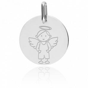Médaille My Angel Garçon Or Blanc 18K