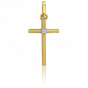 Pendentif Croix Diamantée Or Jaune 18K