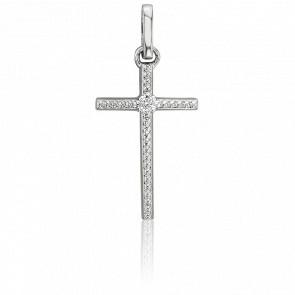 Croix Diamantée Or Blanc 18K