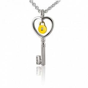 Collier Lock & Love Clé des Amoureux, Diamant & Argent