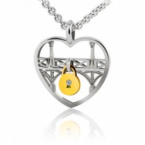 Collier Lock & Love Coeur Pont des Amoureux Argent & Diamant