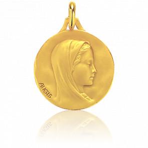 Médaille Vierge Profil Droit Ronde Or Jaune 18K