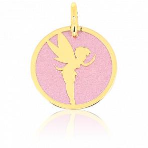 Médaille Fée Acier Rose & Or Jaune 18K