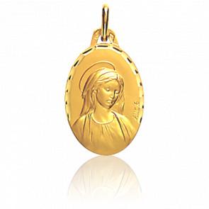 Médaille Vierge facetté Or Jaune 18K