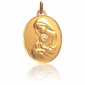 Médaille Vierge à l'Enfant Ovale Or Jaune 18K - Augis