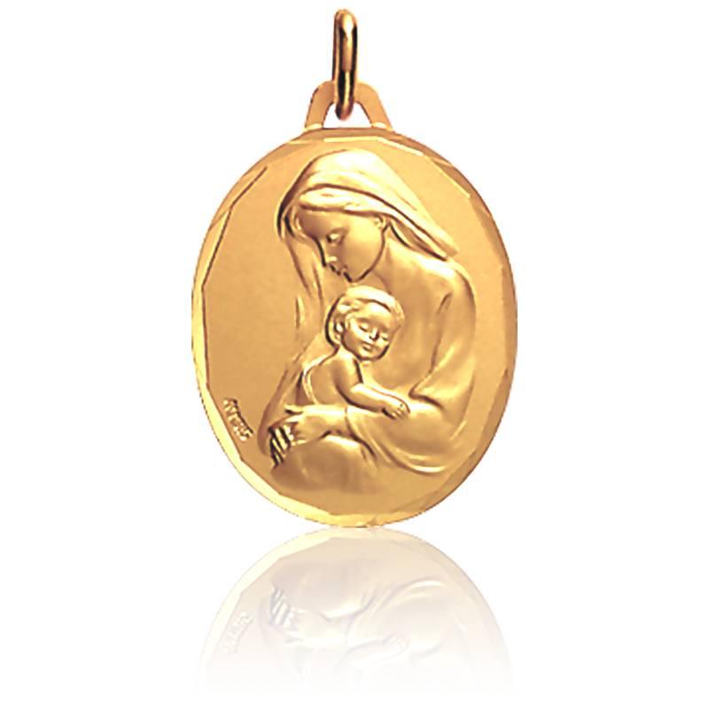 Médaille Vierge à l'Enfant Ovale Or Jaune 18K
