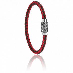 Bracelet Tressé Rouge & Marron 5 mm