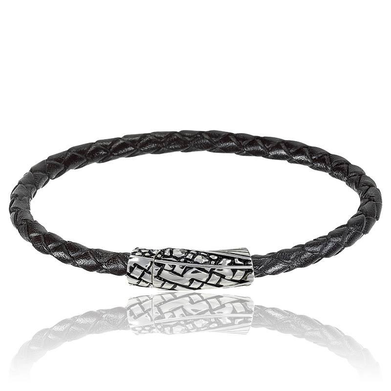 bracelet lino noir 5 mm baldessarini ocarat. Black Bedroom Furniture Sets. Home Design Ideas