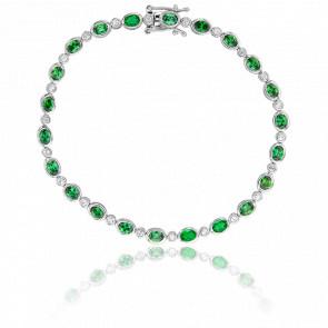 Bracelet Ines Or Blanc Diamants & Emeraude